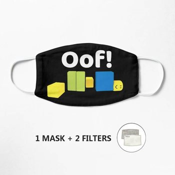 Roblox Oof! Gaming Noob Mask Washable Facemask Half Face Skull Mouth Mark HipHop Cospaly Party One Size Mask image