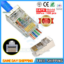 Lote passe final embora rj45 protegido conector cat5e cat6 rede plug rj45 adaptador