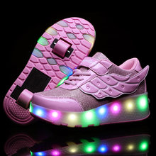 Angel Wing Kids Girls Skate Shoes USB Charge LED Flashing Lamp Shoes Summer Mesh Children Outdoor 2 Wheels Street Roller Skates(China)