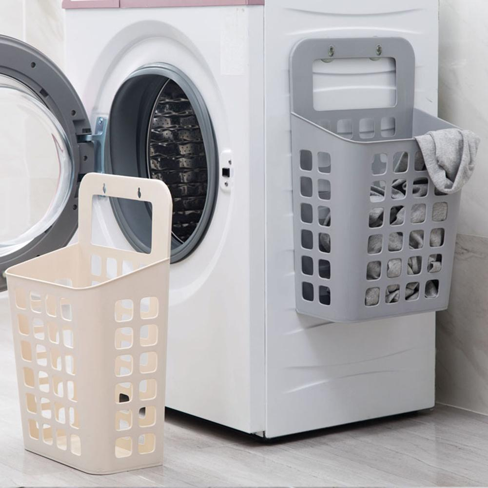 Hollow Plastic Laundry Basket Organizer With Suckers Dirty Clothes Storage Basket Kids Toy Storage Container Home Organizer