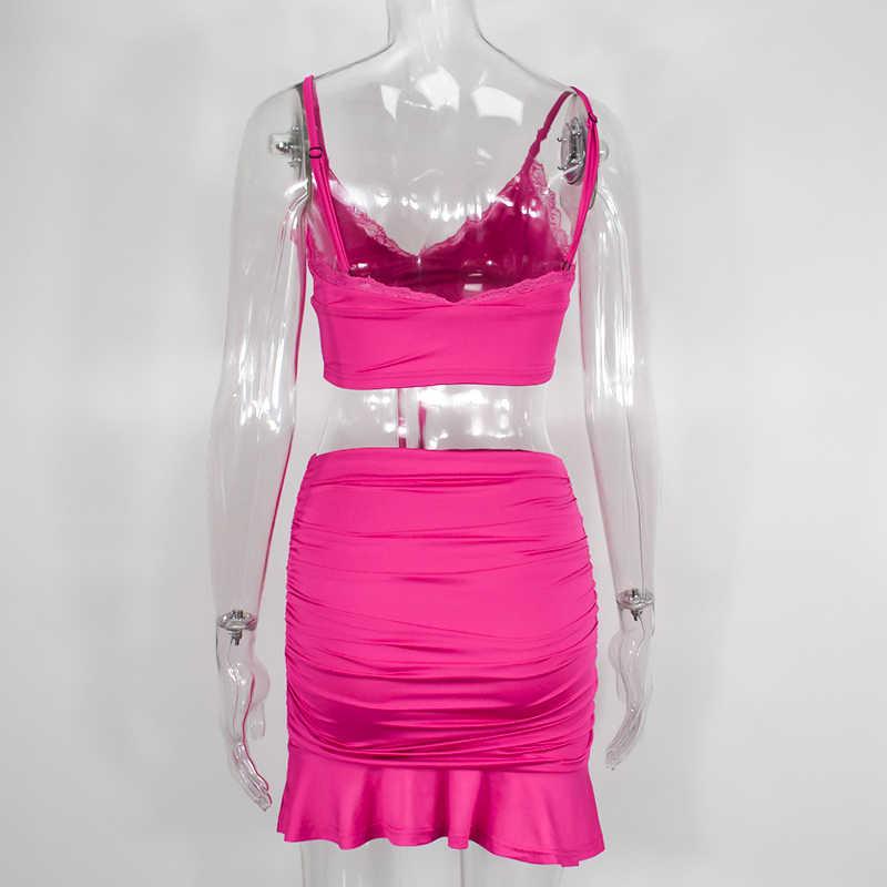 Newasia garden 섹시한 2 피스 세트 여성 핫 핑크 v 넥 넥타이 보우 레이스 자르기 탑 셔링 스커트 2 피스 세트 파티 클럽 매칭 세트