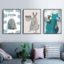 Мультфильм абстрактные Мультяшные животные настенные художественные