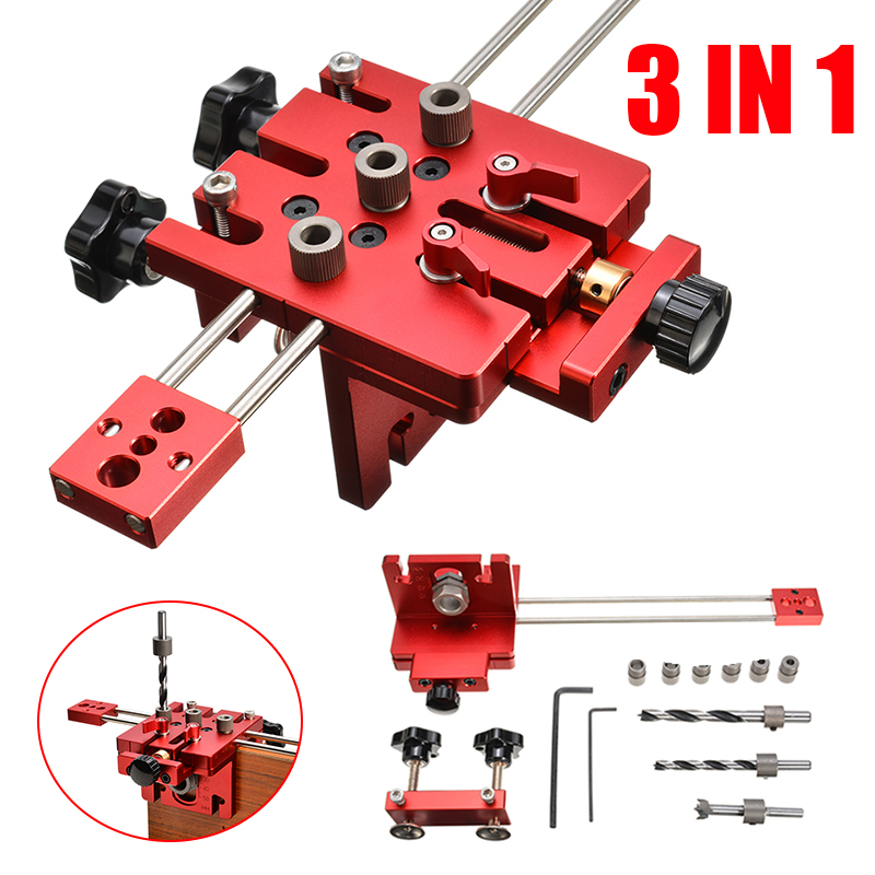 3 In 1 Aluminium Alloy Woodworking Hole Drill Punch Positioner Guide Locator Jig Tool Kit Wood Working Joinery DIY Tool