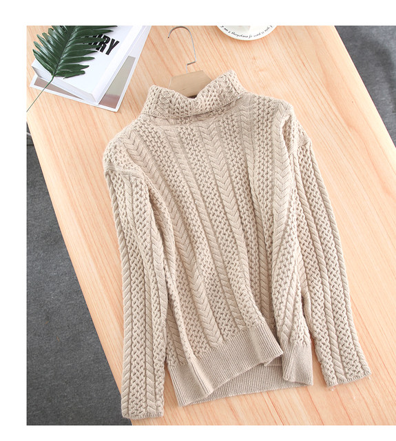 Smpevrg lady thick knitted sweater female pullover long sleeve turtleneck warm women sweater knit tops pullovers women jumpers 12