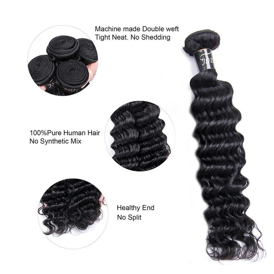 JSDShine Brasilianische Haarwebart Bundles Natürliche Farbe Tiefe Welle Menschliches Haar 4 Bundles Nicht Remy Haar Haar Extensions Keine Verwicklung