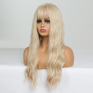 Image 2 - EASIHAIR Long Vanilla Blonde Wave Wigs with Bangs Synthetic Glueless Wigs For Black Women Cosplay Wigs Natural Hair Wigs