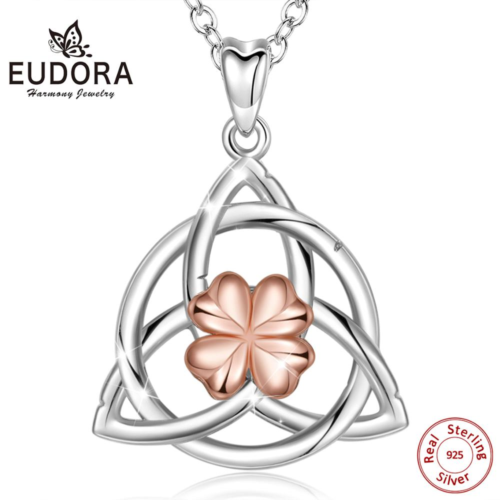 Eudora 925 Sterling Silver Triangle Celtics Knot Pendant Necklace Rose gold Celtic-Shamrock Necklace good luck fine jewelry <font><b>D518</b></font> image