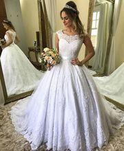Vestido De Novia Vintage Lace Applique Bow Wedding Dress Court Train Button Cover Back Short Sleeve Crew Neck Vestidos
