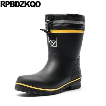 plus size black outdoor autumn rubber fishing boots men 2019 mid calf lace up fall shoes winter waterproof flat faux fur rain