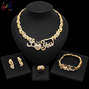Yulaili Jewelry-Sets Necklace Gifts Party Wedding Gold-Color Heart Women Kisses Crystal