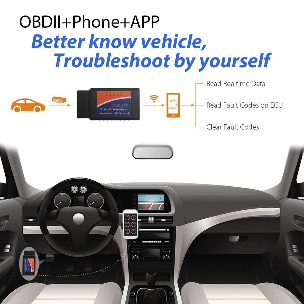 Wifi ELM327 Mã PIC18F25K80 OBD Adapter dành cho Android IOS PC OBD2 Chẩn Đoán Công Cụ ELM 327 V1.5 WI-FI Cho Xe Mercedes định vị ô VAG
