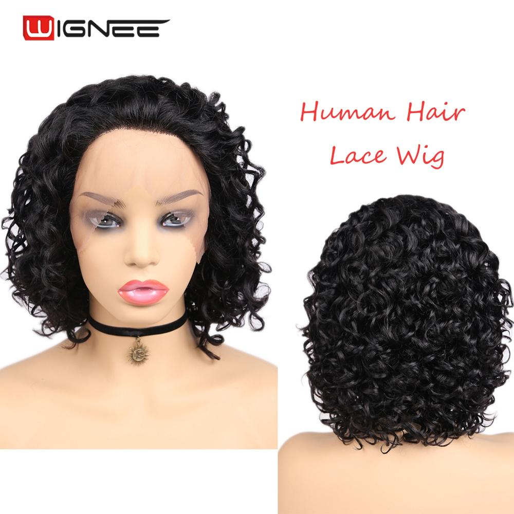 Wignee Lace Front Curly Short Human Hair Wig For Women Natural Black/Ombre Light Brown African American