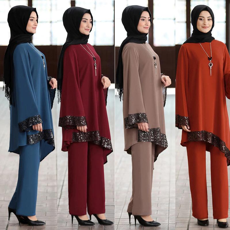 Ramadan 2 Piece Set Muslim Women Turkey Asymmetry Abaya Blouse Wide Leg Pants Kaftan Eid Suits Islamic Clothes Djellaba Musulman