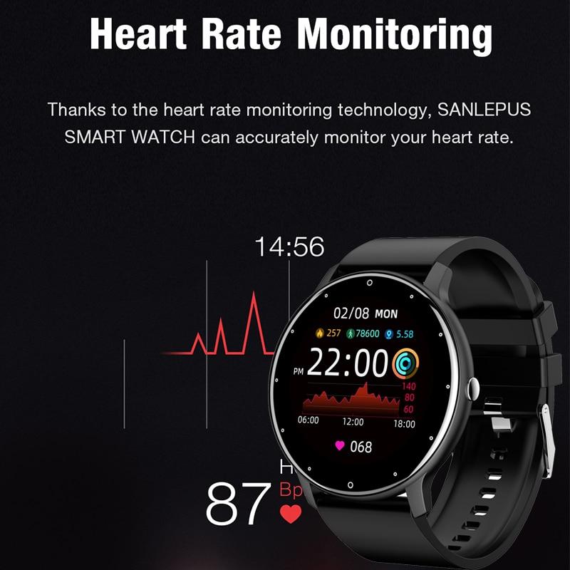 LIGE 2021 Новый смарт-часы для мужчин полный сенсорный Экран Спорт Фитнес часы IP67 Водонепроницаемый Bluetooth для Android ios смарт-часы для мужчин + коробка 2