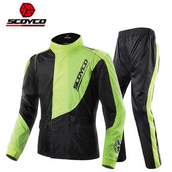 2017 nowy SCOYCO jazda motocyklem płaszcz przeciwdeszczowy spodnie garnitur człowiek podział wodoodporna motocykl kurtka przeciwdeszczowa spodnie w nocy odblaskowe tanie i dobre opinie