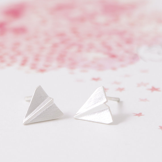 Gold Silver Origami Plane Stud Earrings