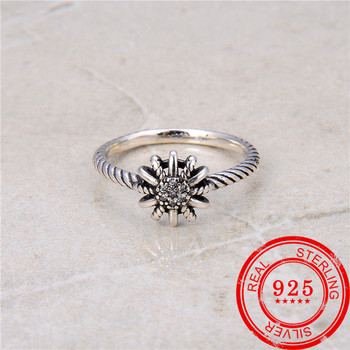 цена на Genuine 925 sterling silver ring zircon inlaid ring ladies vintage fashion 925 sterling silver jewelry