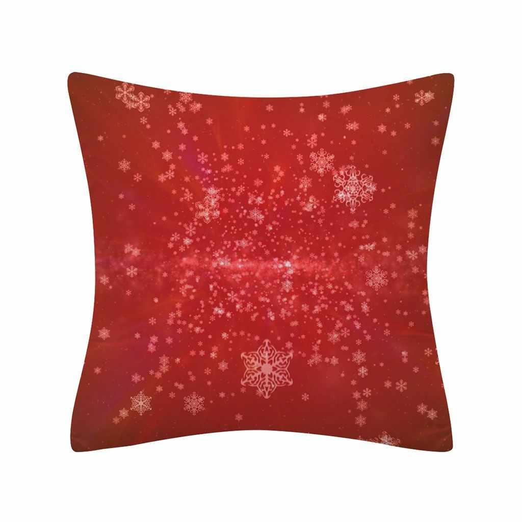 جديد عيد الميلاد بريق البوليستر كيس وسادة مريحة اللمس المنزل مريحة سنة جديدة سعيدة 2019 نافيداد عيد الميلاد هدية #0906