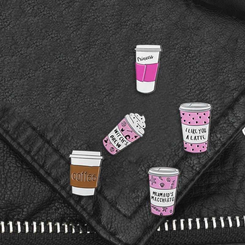 Кофейное молоко Эмаль Булавка колдунья значок «Принцесса» Броши лацкан булавка джинсы рубашка рюкзак мультфильм ювелирные изделия подарок кофе влюбленным