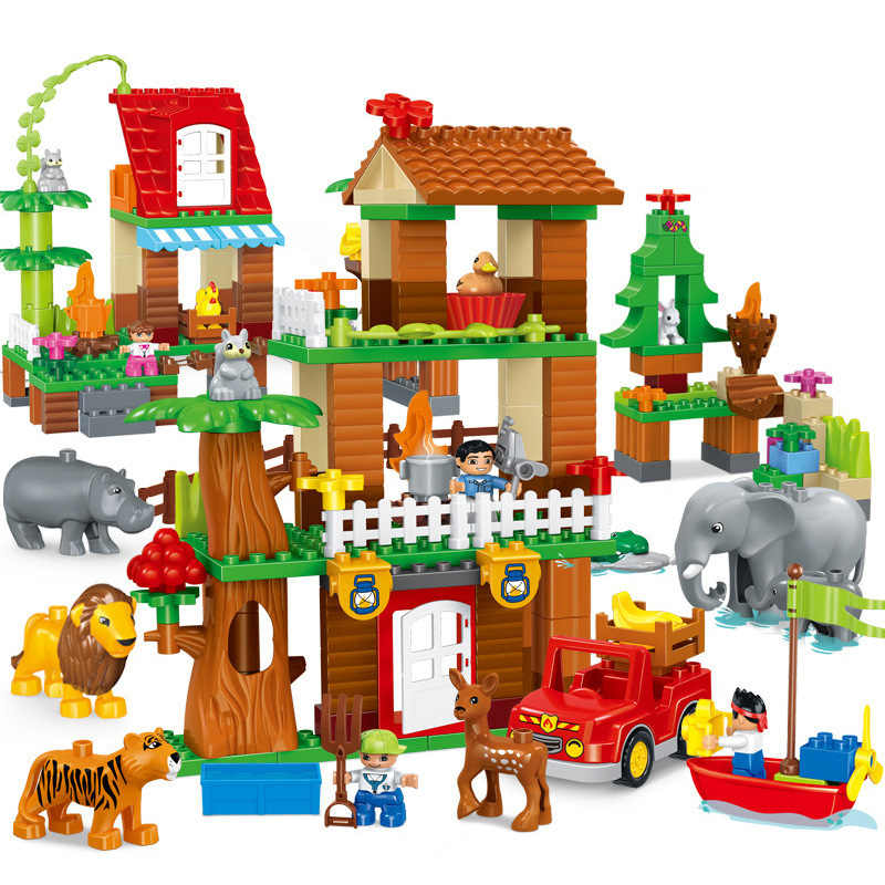Duploed Girl series tema jungle adventure Animal tamaño grande bloques de construcción ladrillos juguetes educativos para niños