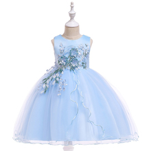 Hot Girl Dress Applique Princess Ball Gown Host Show Sleeveless O-neck Mesh Childrens Wedding Birthday