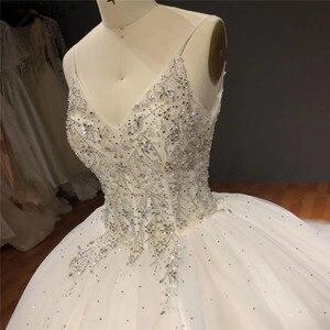 Image 5 - Белое блестящее свадебное платье без рукавов с накидкой, высококачественные Соблазнительные Свадебные платья со стразами и бисером, HA2272, изготовление на заказ