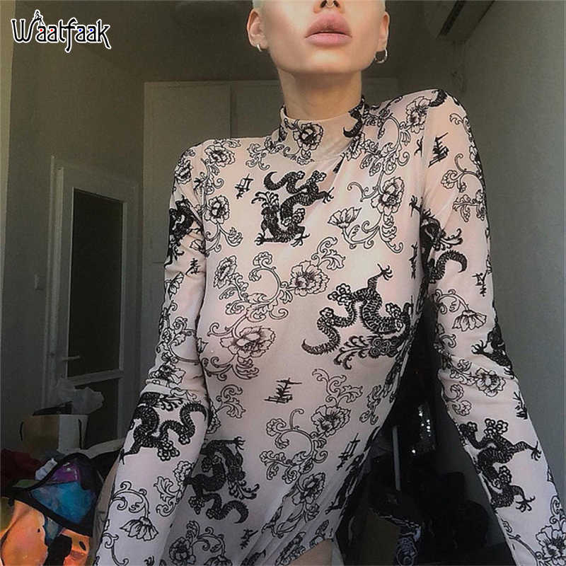 Waatfaak Sheer Transparent Mesh Bodysuit Long Sleeve Dragon Print Bodycon Bodysuits 2019 Harajuku Sexy Body Chinese Style Bodies