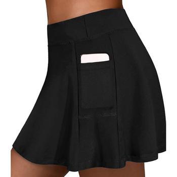 Damska aktywna spódnica do tenisa Running Golf Workout Solid Color Sport Skorts z kieszonkową bielizną dla 2020 Summer Hot Ladies tanie i dobre opinie Hawcoar WOMEN Poliester Stałe Pasuje prawda na wymiar weź swój normalny rozmiar 5200 Spring Summer Women Skirt Sport Casual