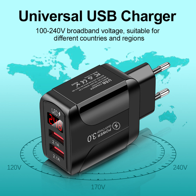 QC 3.0 4.0 USB Charger Quick Charge Portable Phone Fast Charging Adapter For iphone 12 Xiaomi EU/US/UK Plug Mobile Phone Charger 3