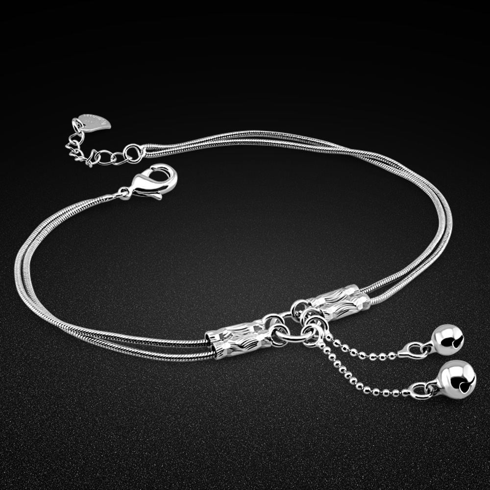 Minimalist women's 925 silver anklet summer fashion original silver ankle jewelry bell silver chain birthday gift for girls
