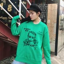 2019 Autumn Garment Green Figure Round-collar Print O-Neck Women Fashion Clothes Sweatshirt