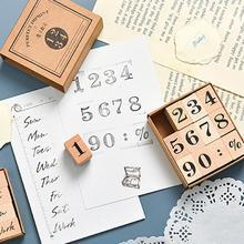Штамп цифры английский месяцы недели многоразовый дерево винтаж курсив печать для офиса