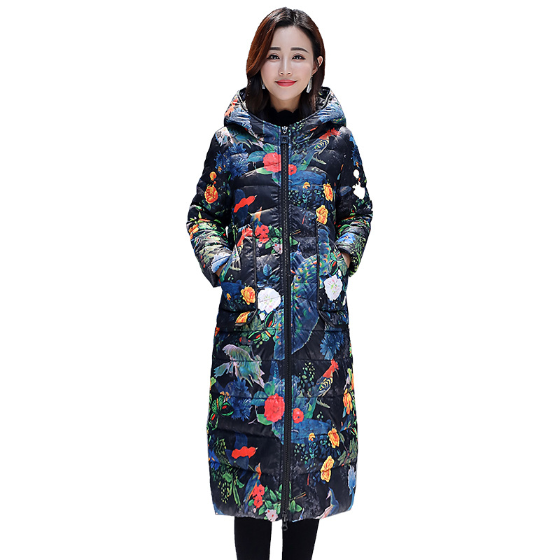 Chic Long Colorful Print Hooded Fur Coat Women Oversize Winter Down Coat Thick Warm Bakery Jacket Cotton Padded Wadded Parkas