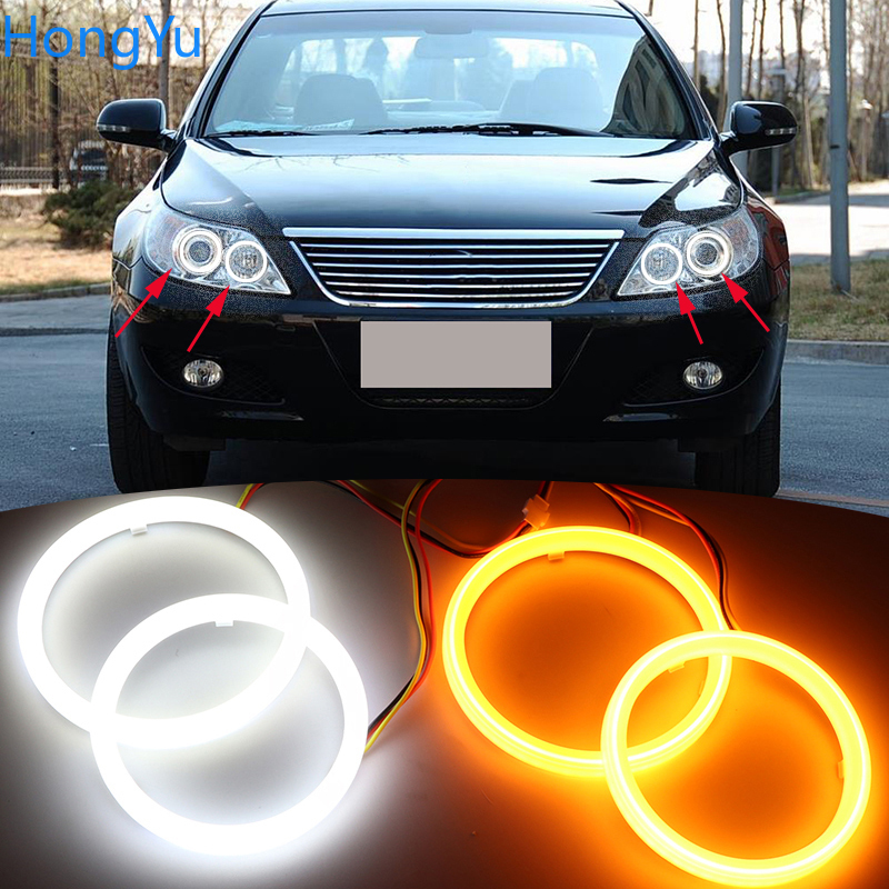 For BYD F6 2008 2009 2010 2011 2012 Cotton Switchback LED Dual Color Angel Eye White Amber Turn Signal Light