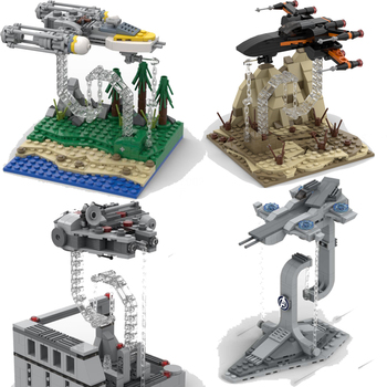 цена на New Star Tie Fighter Tensegra Balanced X Wing Y Wing MicroFighters Wars AT Walker Building Blocks StarWars Lepining Toys Gifts