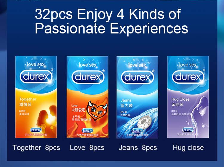 Durex Condom 100/64/32 Pcs Box Natural Latex Smooth Lubricated Contraception 4 Types Condoms for Men Sex Toys Products Wholesale 2