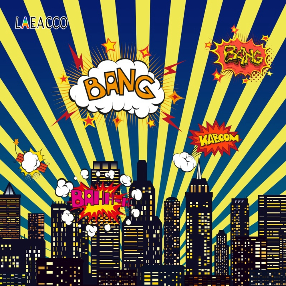 Laeacco Comic Building Boom Zap City Baby Party Photography Backgrounds Customized Photographic Backdrops Props For Photo Studio in Background from Consumer Electronics