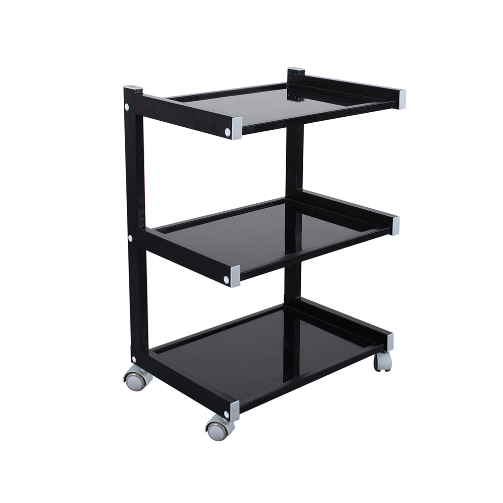 3 Layer Beauty Trolley Facial Salon Table Glass Top Black Home Cart Movable Rack Organizer Tools Cart Bearing 50 Kgs