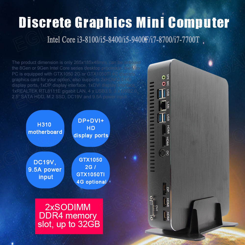 Eglobal Gaming Mini Computer Intel Core I3 9100F I5 9400F Dual Graphics Nvidia GTX 1050/1050ti 4GB Mini Dektop PC 2 HDMI DP DVI