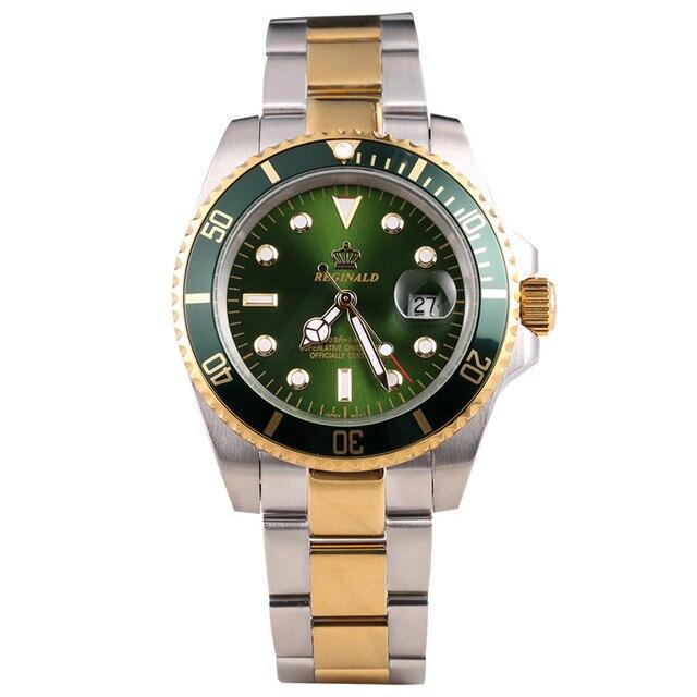 רג ינלד שעון גברים יפן Miyota Movt מוצק Endlink Rotatable Bezel GMT תאריך מלא נירוסטה קוורץ שעונים עמיד למים