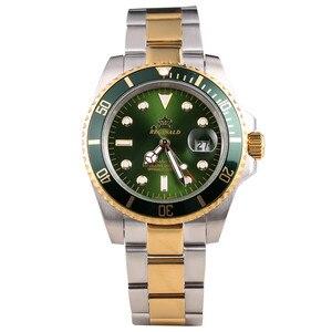 Image 1 - Reginald Reloj de acero japonés para hombre, Miyota Movt sólido Endlink, bisel giratorio, fecha GMT, relojes de cuarzo de acero inoxidable, resistente al agua