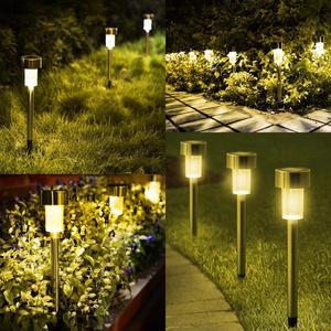 Image 4 - LED lampy ogrodowe na energię słoneczną na zewnątrz lampa zasilana energią słoneczną latarnia wodoodporna oświetlenie krajobrazu na szlaku Patio, ogródek dekoracja trawnika