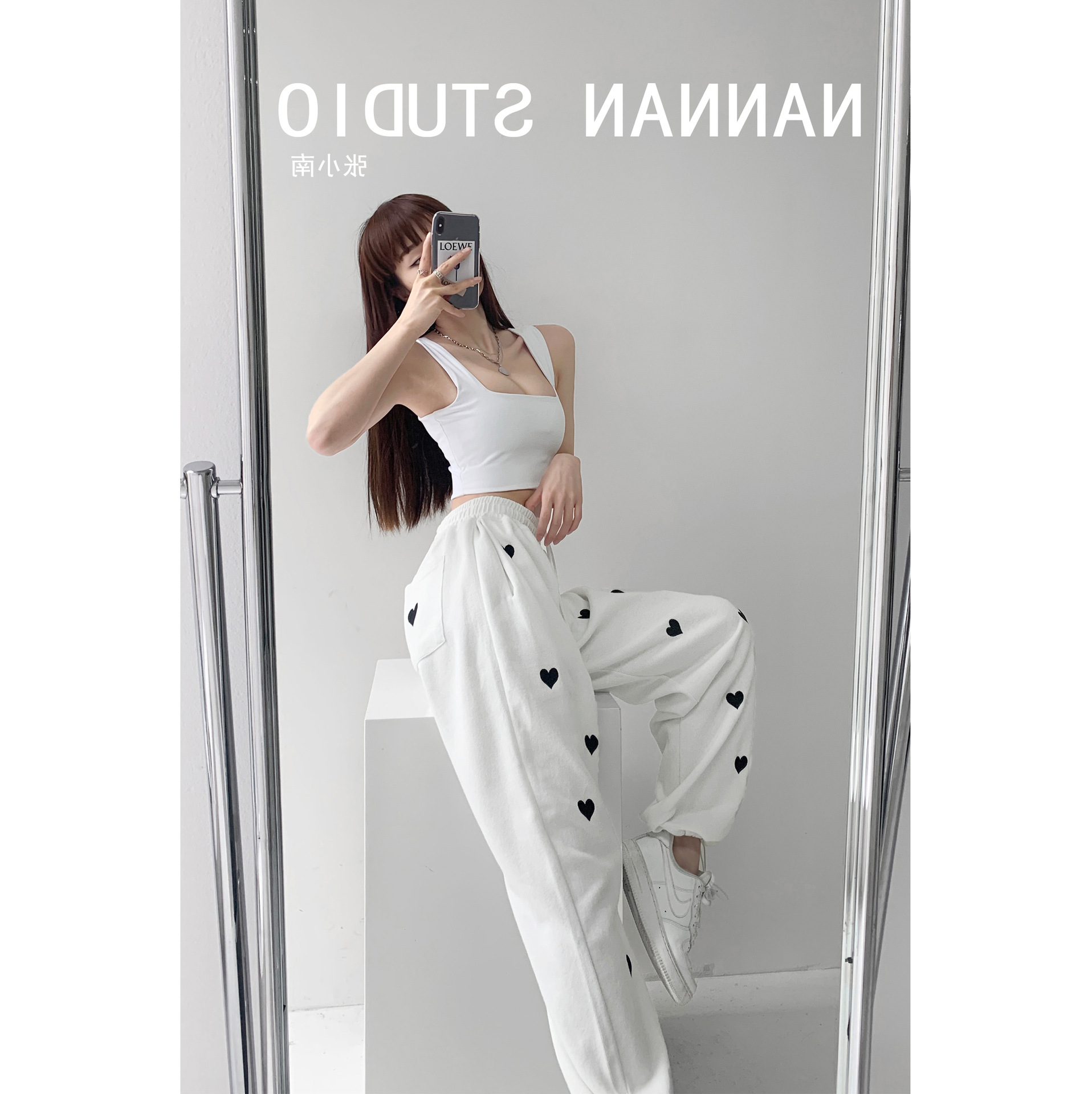 2021 thin hot girl street style printed love sweatpants women's thin high waist elastic waist panties casual loose