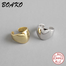 BOAKO Fashion Minimalist Ear Cuff Clip On Earring For Women 925 Sterling Silver Jewelry Smooth Face No Pierced Round Earring 1Pc(China)