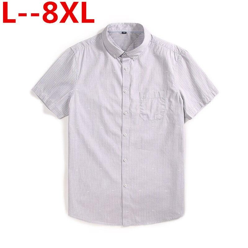 Plus Size 8XL 6XL 5XL 7XL Men Shirt Short Sleeve Striped Work Shirts Mens Social Dress Shirts White Male Formal Business Shirt