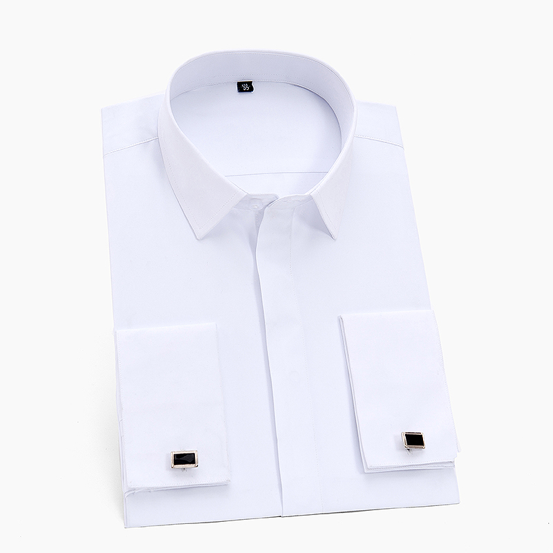 Tuxedo Dress Shirt Cufflinks French-Cuff White Covered Placket Long-Sleeve Men's Classic