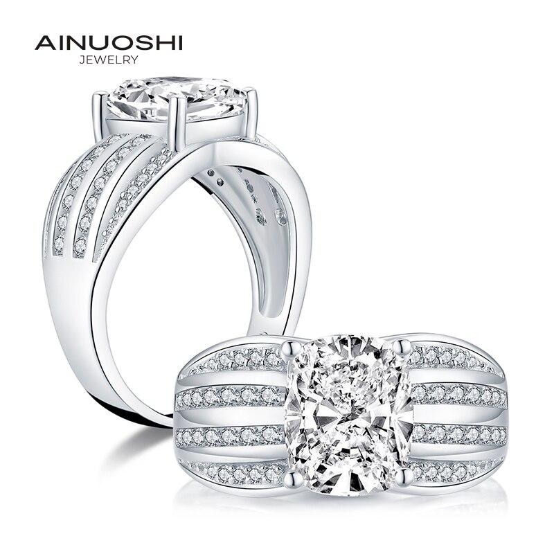AINUOSHI 925 argent Sterling 3.5 Carat 4 rangées coussin coupe bague de fiançailles simulé diamant mariage 3 rangées argent bague bijoux