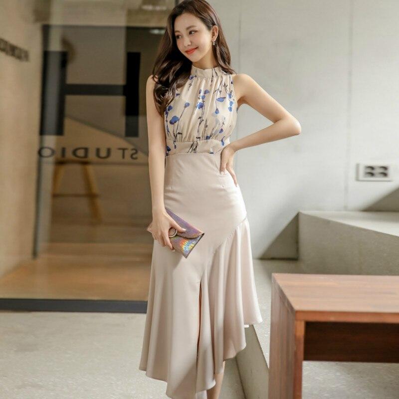 2020 Summer Sleeveless Print Stand Neck Chiffon Blouse High Waist Irregular Mid-Calf Skirt Two Piece Fishtail Party Dress