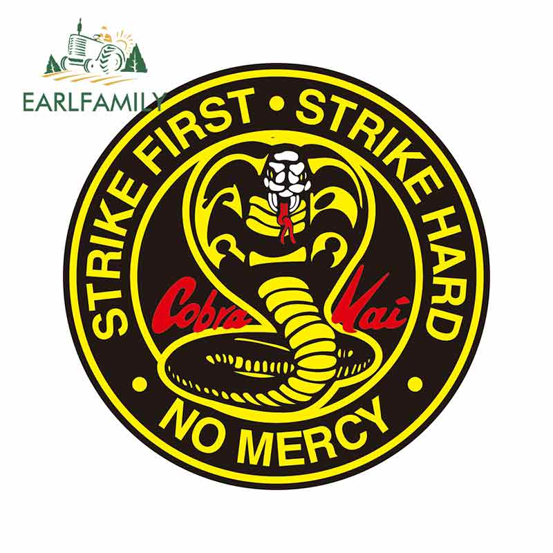 EARLFAMILY 13cm For Cobra Kai Circle Logo Big Cobra 13 Fine Decal Waterproof Suitable For VAN RV Vinyl Car Sticker Decoration(China)