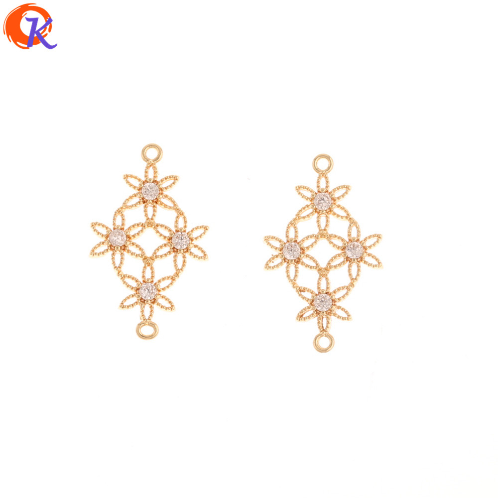 Cordial Design 30Pcs 14*23MM Jewelry Accessories/Genuine Gold Plating/Hand Made/Earring Findings/CZ Connectors/DIY Making